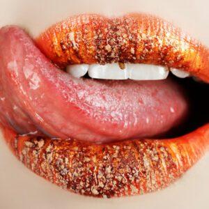 Orange Lips with Tongue