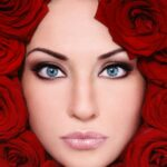 Face with Red Roses