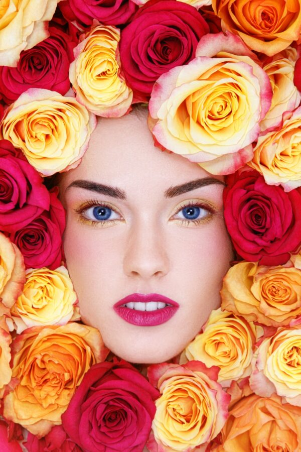 Face with Color Roses