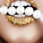 Golden Lips with Pearls
