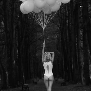 Lonely Women with Balloons