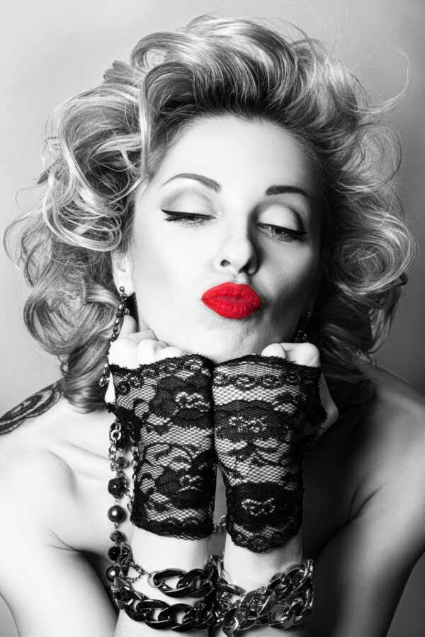 Black and White Women with Red Lips