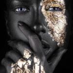 Fashion Portrait Painted Gold