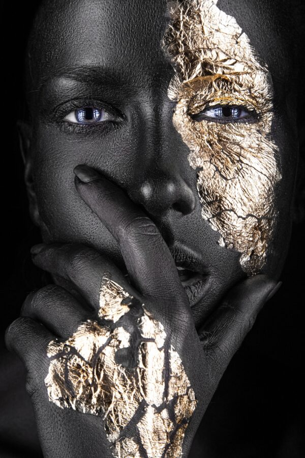 Fashion Portrait Painted Gold