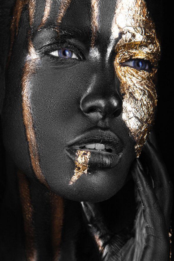 Fashion Portrait Beauty Painted Gold