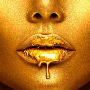 Painted Gold Lips