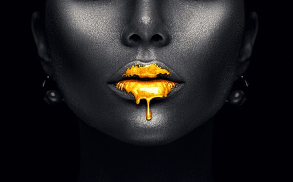 Black Painted Gold Lips